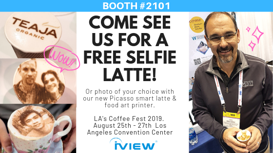 iview will be at los angeles coffee fest 2019 to demonstrate their latte art printer the picasso. print selfies on coffee foam with this machine